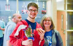 Peters with his mother, Casey, at the senior night for wrestling.