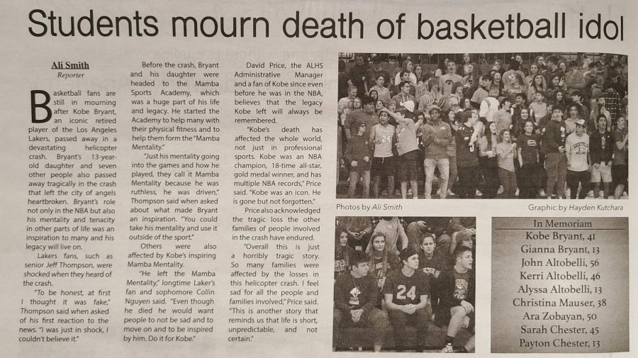 Issue 5 | Vol. 120, Early February 2020: Students mourn death of basketball idol